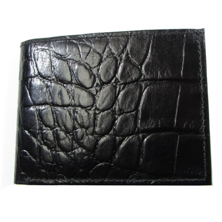 Durable Mens Wallet Black Crocodile Print Leather Extra Midsection Flap Campus - Black Crocodile Print Leather