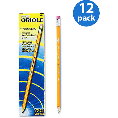 Dixon Oriole Woodcase Pre-Sharpened Pencils, HB #2 Lead, 12pk