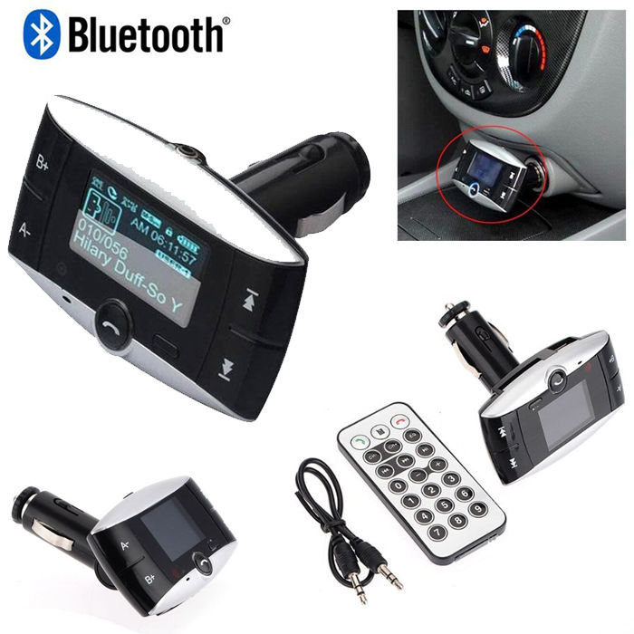 "1.5"" LCD Car Kit Bluetooth FM Transmitter MP3 Player SD MMC USB Remote Modulator"