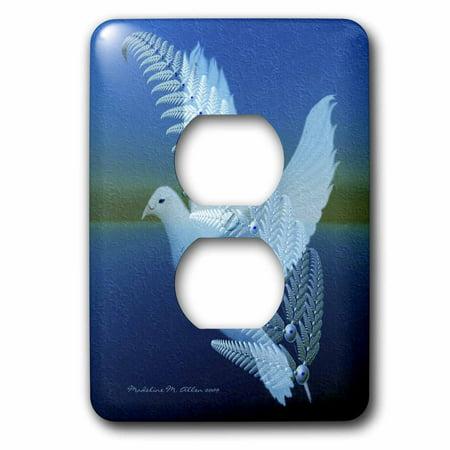 Dove Bird Saddle Plug - 3dRose Silverwing - Fractal Dove - Bird Art - 2 Plug Outlet Cover (lsp_6562_6)