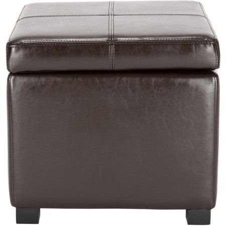 Fabulous Safavieh Hudson Collection Williamsburg Brown Leather Square Storage Ottoman Caraccident5 Cool Chair Designs And Ideas Caraccident5Info