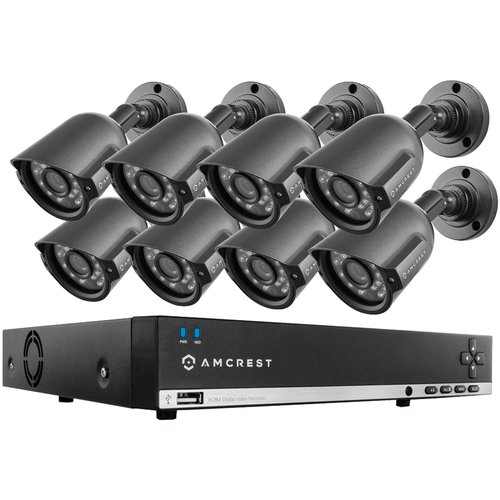 Amcrest AMDV960H8-8B 960H 8-Channel 1TB DVR Security System with Eight 800  TVL Bullet Cameras