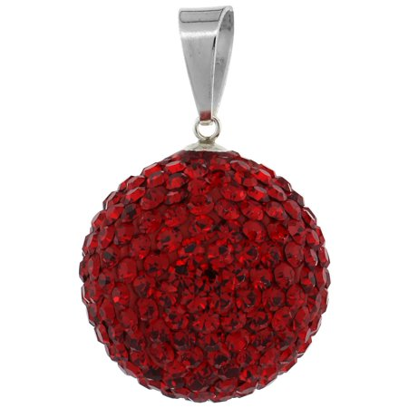 Disco Ball Necklaces (Sterling Silver Red Crystal Disco Ball Pendant)