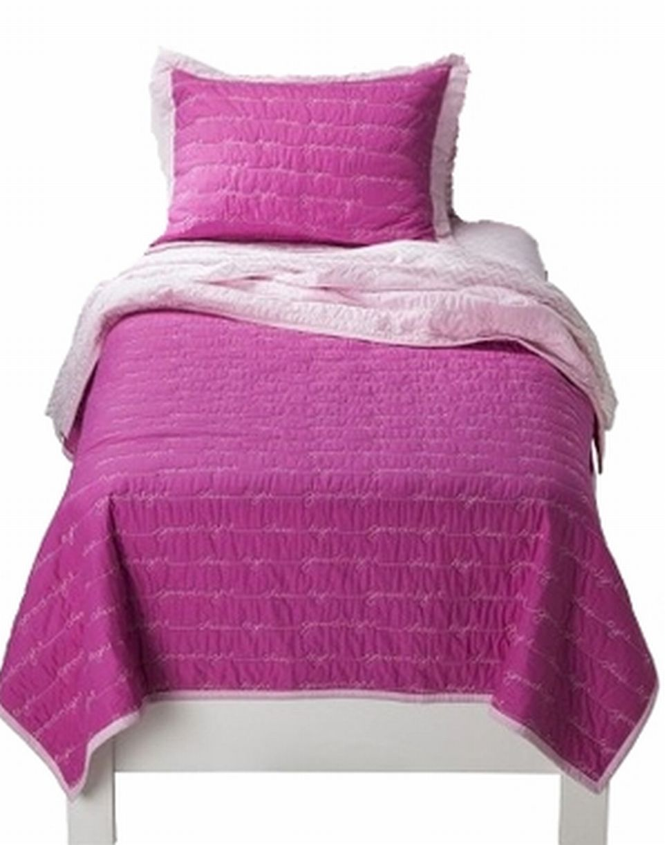 Girls Twin Quilt & Sham Set Pink Goodnight Embroidered Sentiments Girls Bedding by