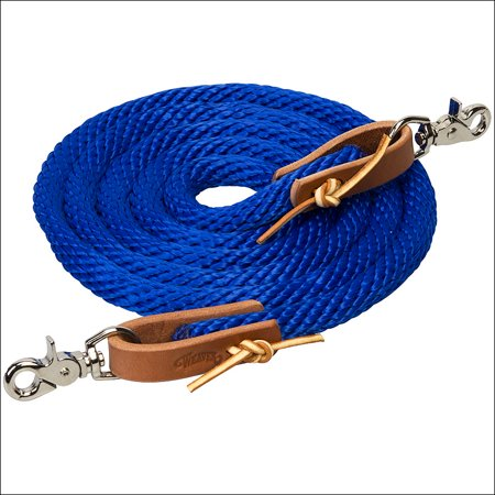 BLUE 8 FT WEAVER HORSE POLY ROPING REINS W/ LEATHER LACES LOOP ENDS