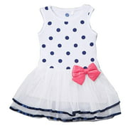 Little Girls Blue Polka Dot Printed Top Pink Bow Attached Tutu Dress 2T-5