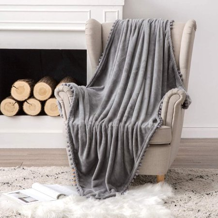 DecorX Ultra Soft Fleece Blanket Luxurious Fuzzy for Couch or Sofa Lightweight Fluffy Warm Bed Blanket with Cute Pompom Tassels - Super Cozy for Napping Sleeping Twin Size 60x80 inches Grey
