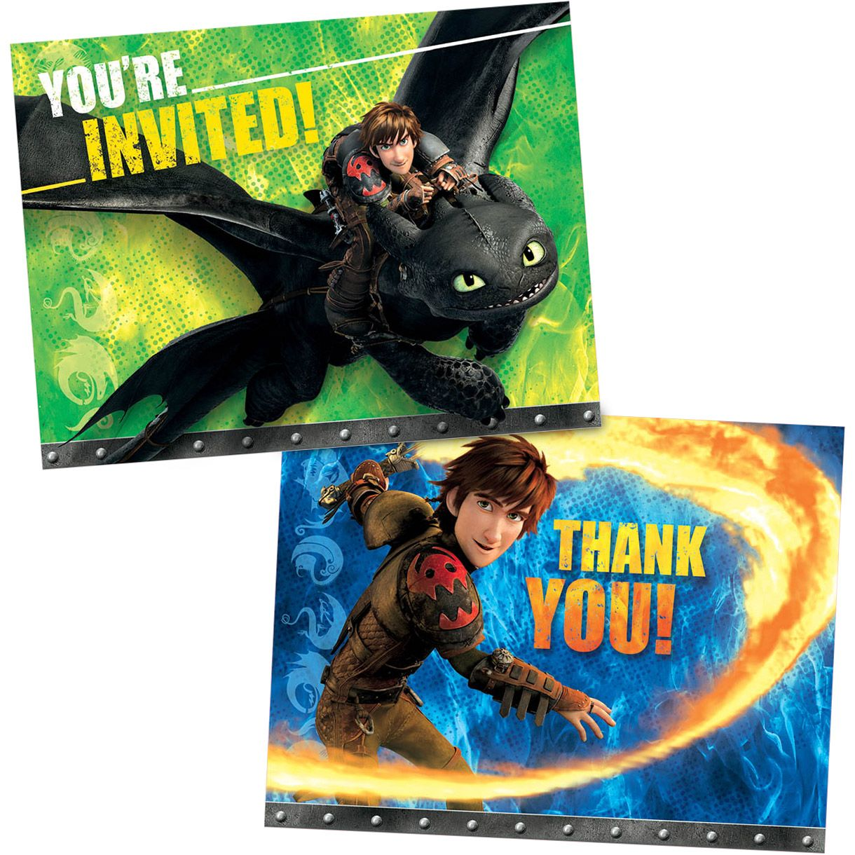 How to Train Your Dragon Invitation/Thank You Set (16 Pack) - Party Supplies