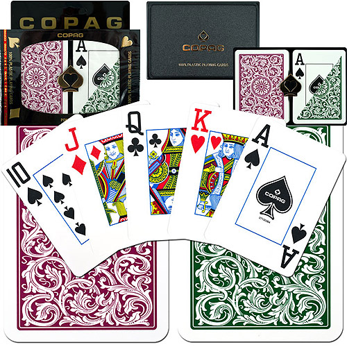 Trademark Poker 2pk Copag Jumbo Index Poker Cards, Green/Burgundy