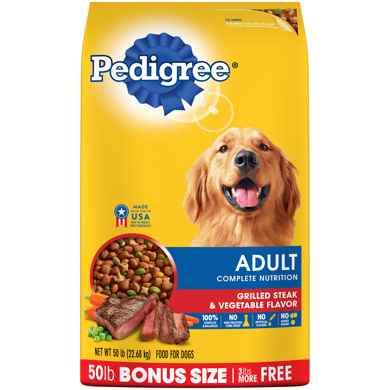 PEDIGREE Adult Complete Nutrition Dry Dog Food, Grilled Steak & Vegetable Flavor, 50 Lb