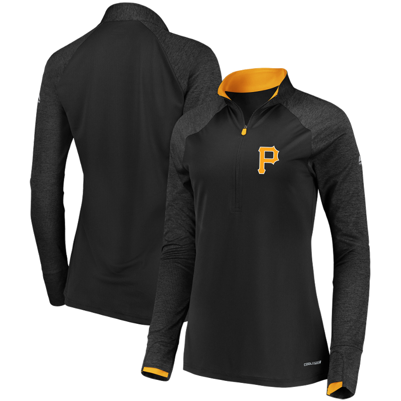 Pittsburgh Pirates Majestic Women's Extremely Clear Cool Base Raglan 1 2-Zip Jacket Black by MAJESTIC LSG