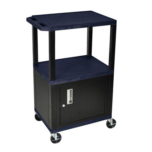 """H WILSON WT42ZC2E-B 3-Shelf AV Cart with Cabinet, Tuffy, 42"""", Navy Blue"""
