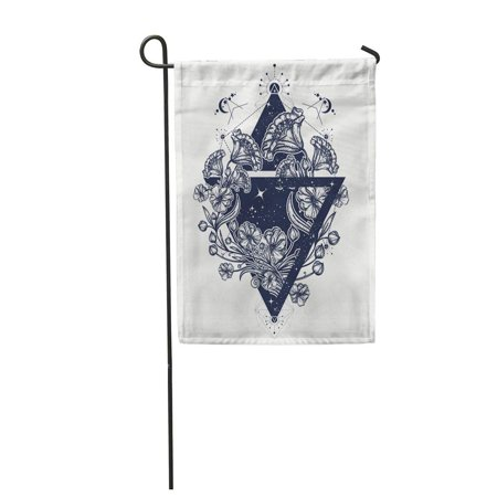 KDAGR Flowers in Triangle Tattoo Graceful Mystical Symbol of Freedom Astronomy Mysterious Garden Flag Decorative Flag House Banner 28x40 inch