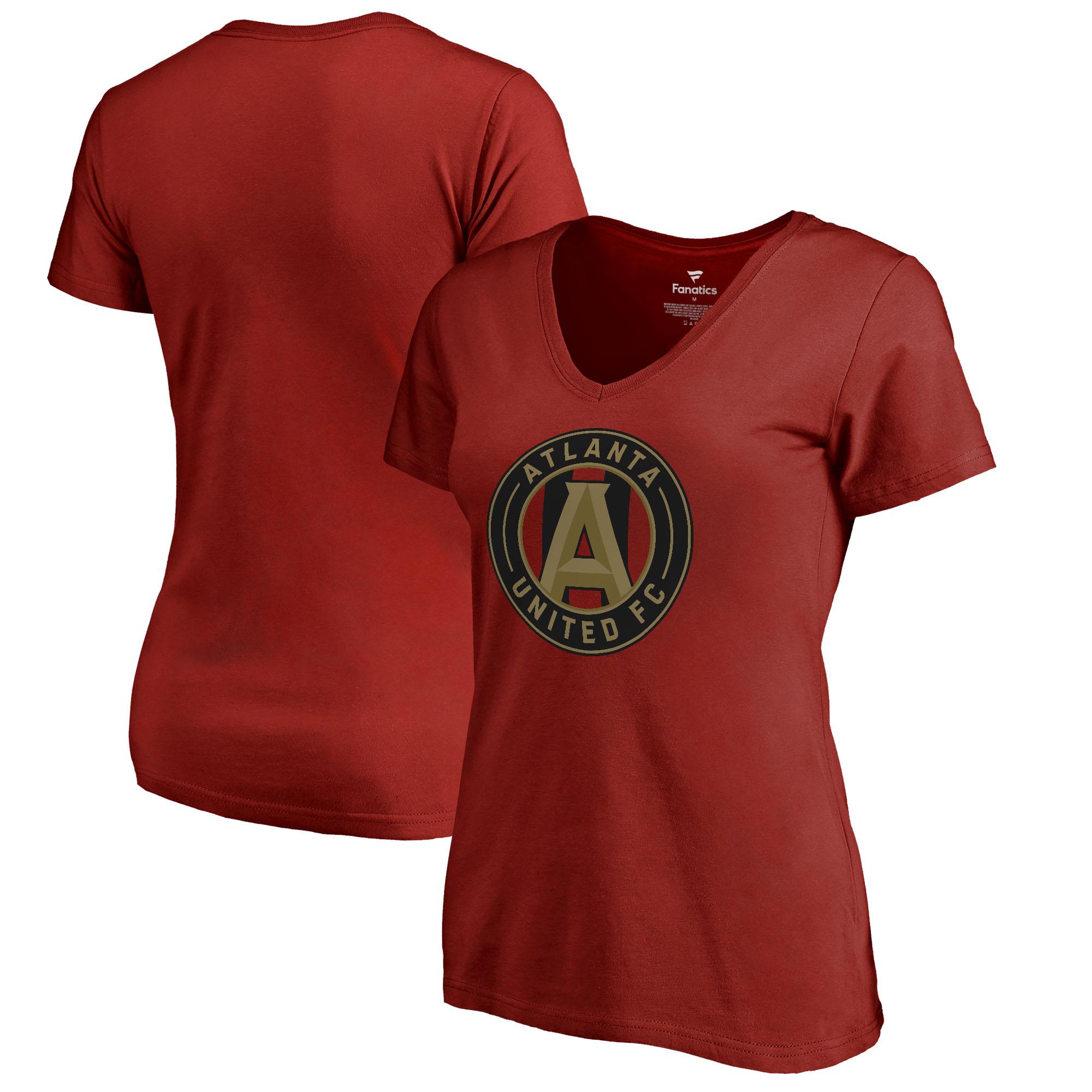 Atlanta United FC Fanatics Branded Women's Primary Logo V-Neck T-Shirt - Red