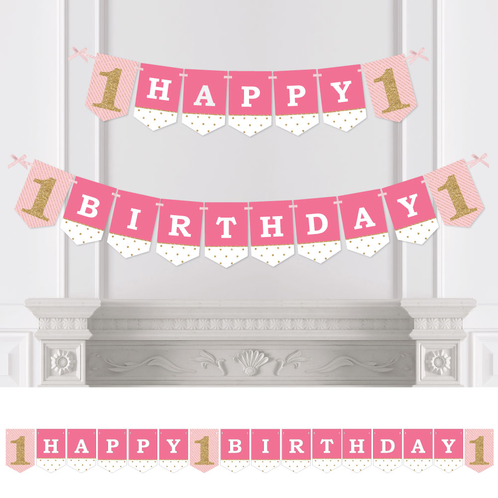 1st Birthday Girl - Fun to be One - Birthday Party Bunting Banner - Pink Party Decorations - Happy Birthday