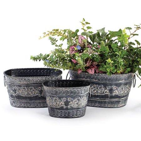 Burton & Burton Planter Tin Oval Gray With, Set Of 3 ()