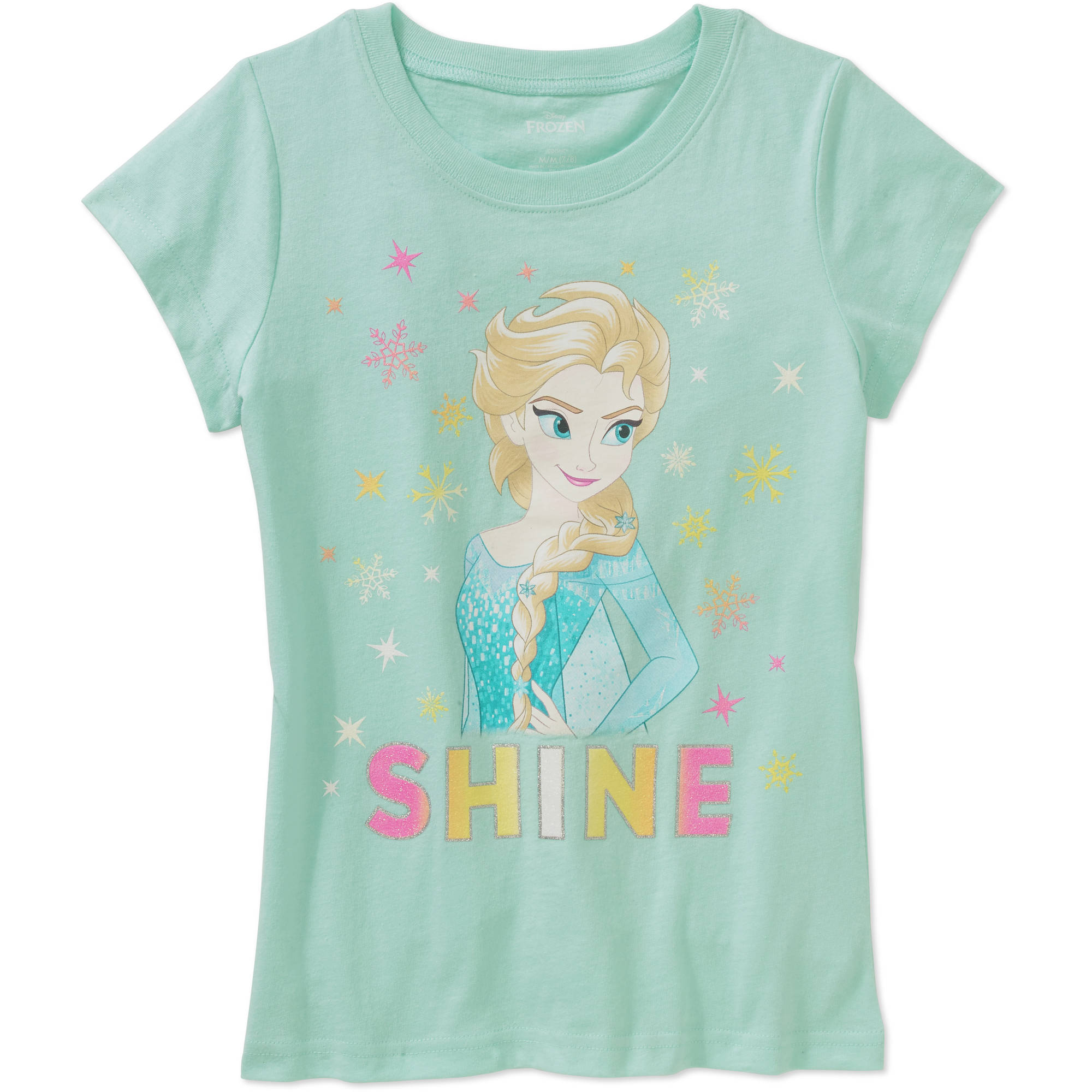 Disney Frozen Girls' Licensed Elsa Shine Short Sleeve Graphic T-Shirt
