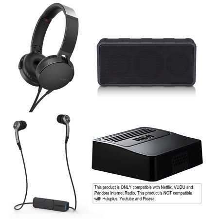 Tech & Gadget Electronics Gift Box Audio TV Video Bundle Holiday Christmas - Sonyy Pumps Bass Headphones + Wireless Speaker, Netflix Player, Earbuds for iPhone & Android (New Open Box) ()