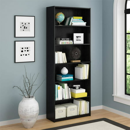 Mainstays 6 Shelf Bookcase Black Ebony Ash Walmart Com