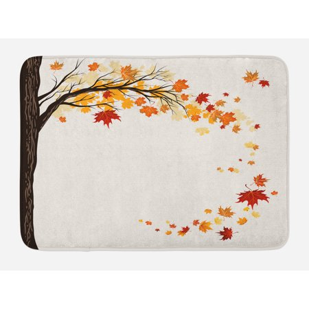 Fall Bath Mat, Leaf Group Motion in Mother Earth Transition from Summer to Winter Season Theme, Non-Slip Plush Mat Bathroom Kitchen Laundry Room Decor, 29.5 X 17.5 Inches, Brown Orange, (Flooring Transition From Kitchen To Family Room)