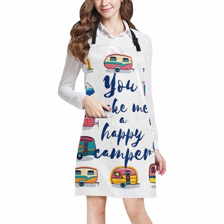 ASHLEIGH Funny You Make Me Happy Camper Inspirational Quote with Retro Caravans Kitchen Apron Mens and Womens Bib Apron Adjustable with Pockets for Cooking Baking Gardening