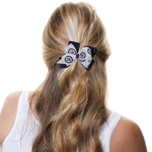 Winnipeg Jets Double Bow - Navy Blue/White - No Size