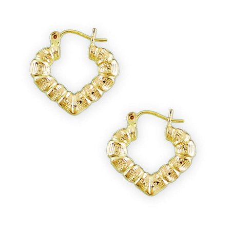 Gold Heart Shaped Bamboo Earrings - Famous Earring 2018