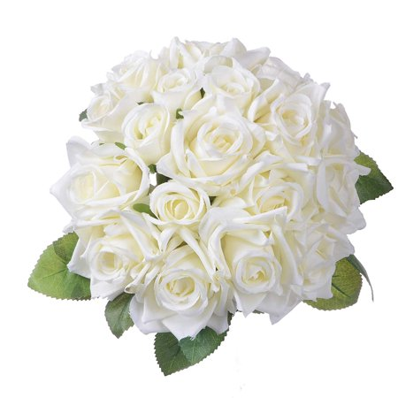 Artificial Flower Rose Bouquet 1Pack Fake Flower Silk Plastic Artificial White Rose 18 Bridal Wedding Bouquet Home Garden Party Wedding Decoration (Milk White)