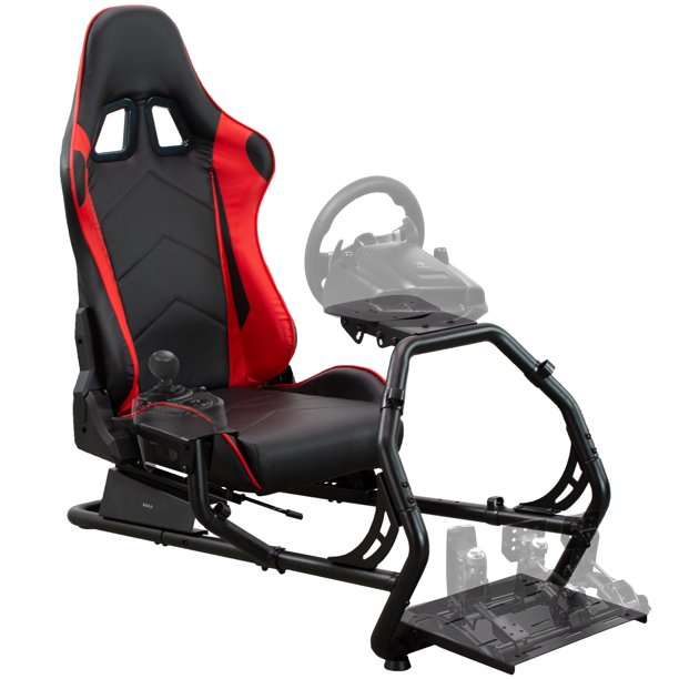 VIVO Racing Simulator Cockpit with Wheel Stand and Reclining Seat, Gear Mount (Chair and Frame Only) (STAND-RACE1B)