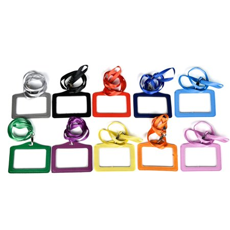 CUH 1/2/5/10 PCS Neck Strap Lanyard Horizontal Name Tag ID Card Holder Business Office School