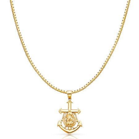 a5cf7c3d206 Ioka - 14K Yellow Solid Gold Religious Our Lady of Guadalupe Charm Pendant  with 1.2mm Box Chain Necklace - 24
