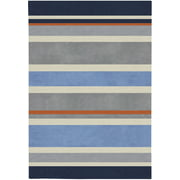 6' x 9' Midnight Blue and Dove Gray Striped Rectangular Area Throw Rug