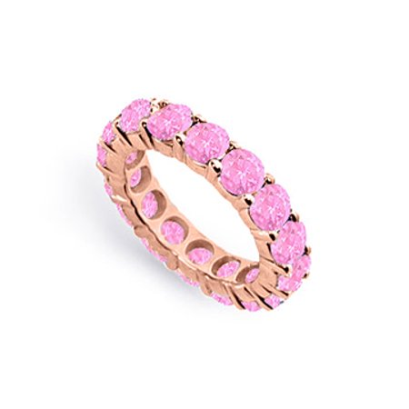 Created Pink Sapphire Eternity Ring Stackable Band 14K Rose Gold Vermeil. 10ct tgw - image 1 de 2
