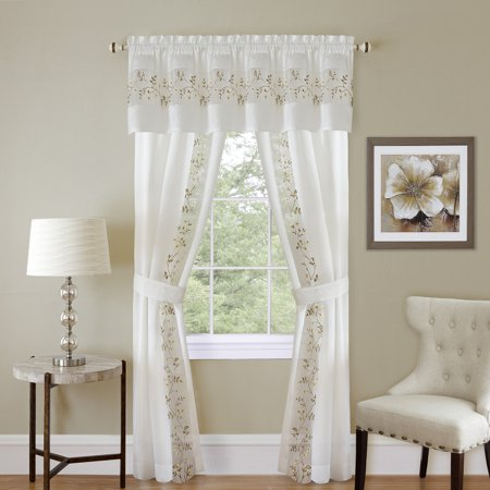 5-Piece Light Filtering Floral Semi-Sheer Window Curtain Set - Includes Split Panels, Valance and Tiebacks