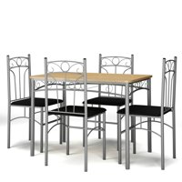 Costway 5PCS Dining Set Table and 4 Chairs Home Kitchen Modern Furniture