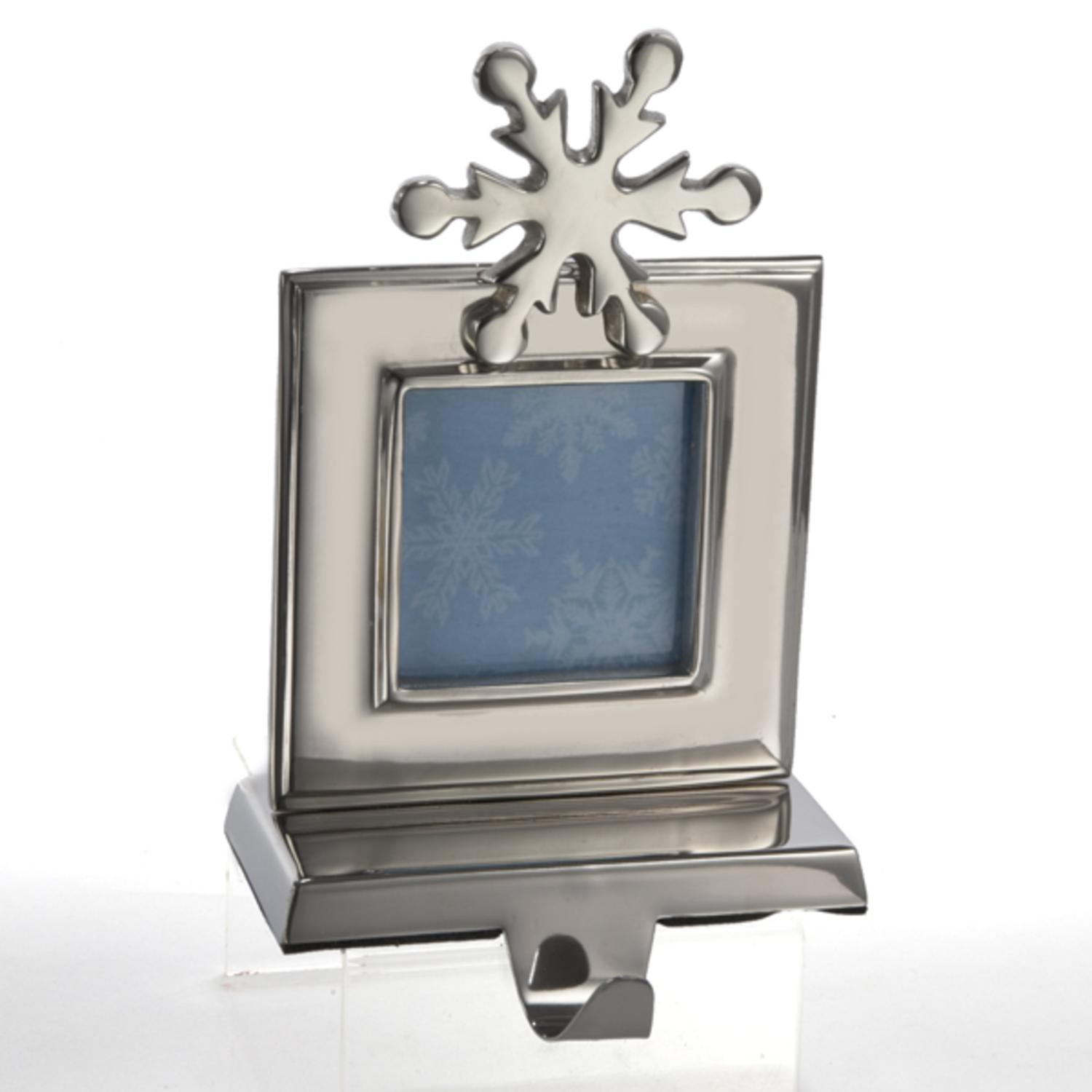 8 Silver Snowflake Photo Picture Frame Christmas Stocking Holder