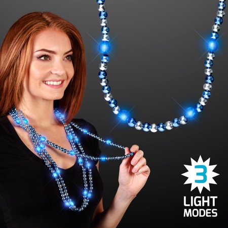 FlashingBlinkyLights Light Up Beaded Mardi Gras Necklace (Set of 12) - Light Up Necklace