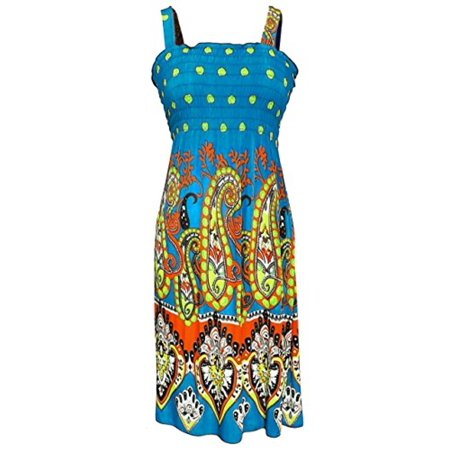 Peach Couture Women's Midi Multicolor Exotic Smocked Spring Summer Dress (XXL, Teal)
