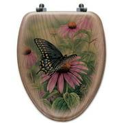 WGI-GALLERY Black Swallowtail Butterfly Oak Elongated Toilet Seat