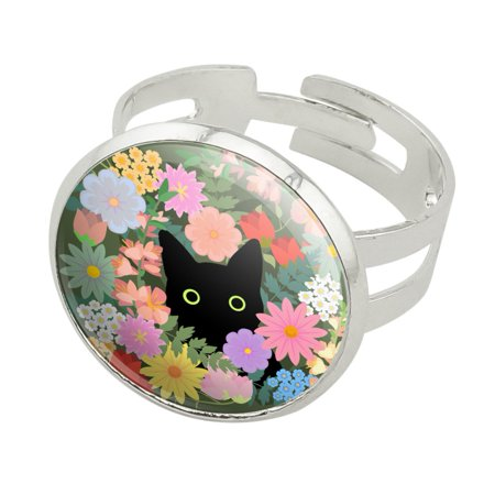 Black Cat Hiding in Spring Flowers Silver Plated Adjustable Novelty Ring Color Spring Ring