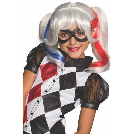 Asda Halloween Wigs (DC Superhero Girls: Harley Quinn Child Wig, Halloween)