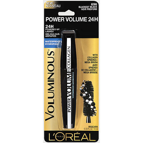L'Oreal Paris Voluminous Power Volume 24H Waterproof Mascara, 696 Blackest Black