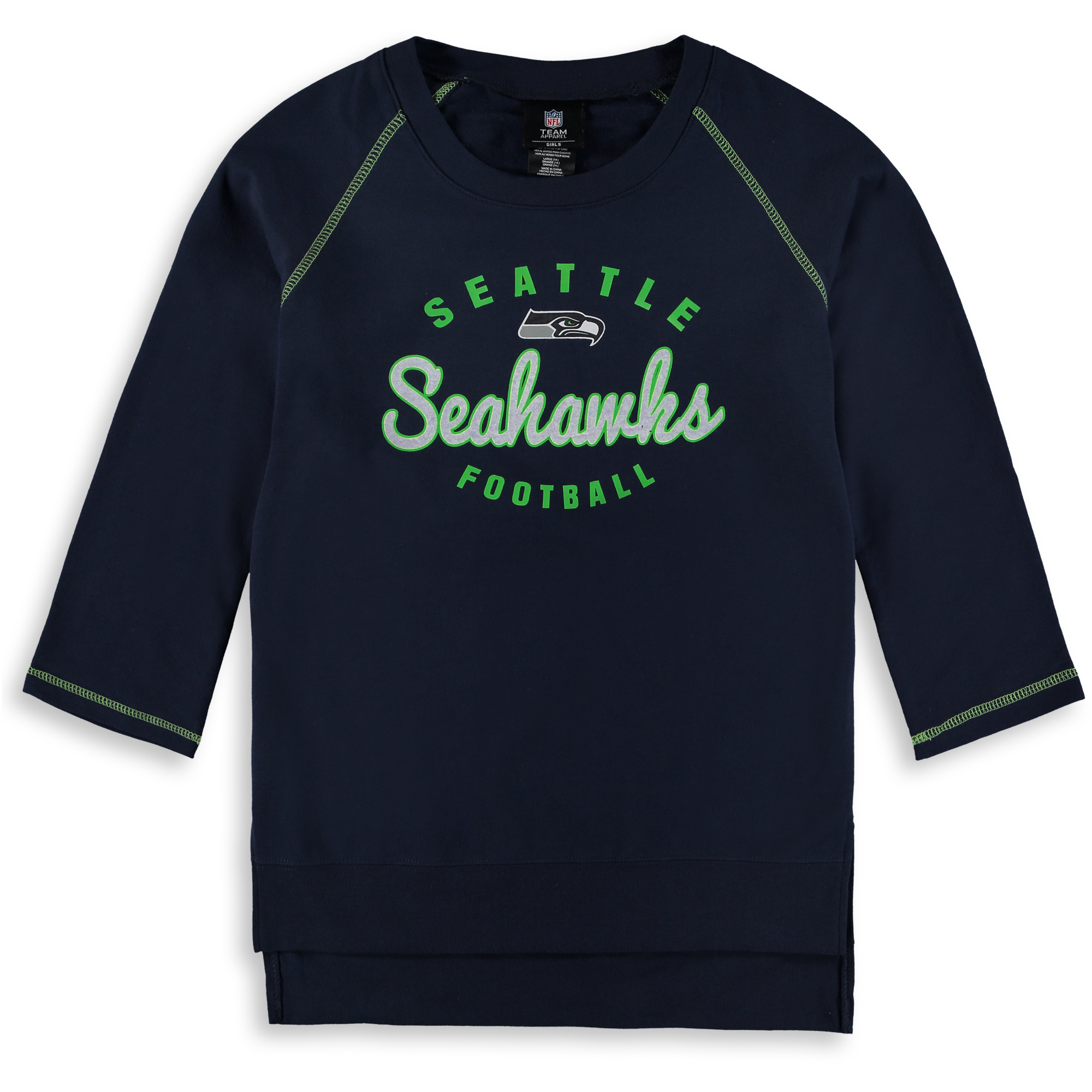 Seattle Seahawks Girls Youth Overthrow 3/4-Sleeve Crew Sweatshirt - College Navy