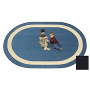 Joy Carpets 1479CC-06 Portrait Onyx 5 ft.4 in. x 7 ft.8 in. Oval 100 Pct. STAINMASTER Nylon Machine Tufted- Cut Pile Educational Rug