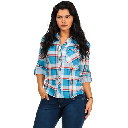 Womens juniors plaid long sleeve button down shirt blue for Plaid button down shirts for women