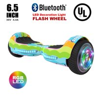 "Flash Wheel UL 2272 Certified Hoverboard 6.5"" Bluetooth Speaker with LED Light Self Balancing Wheel Electric Scooter - Rainbow Wave"
