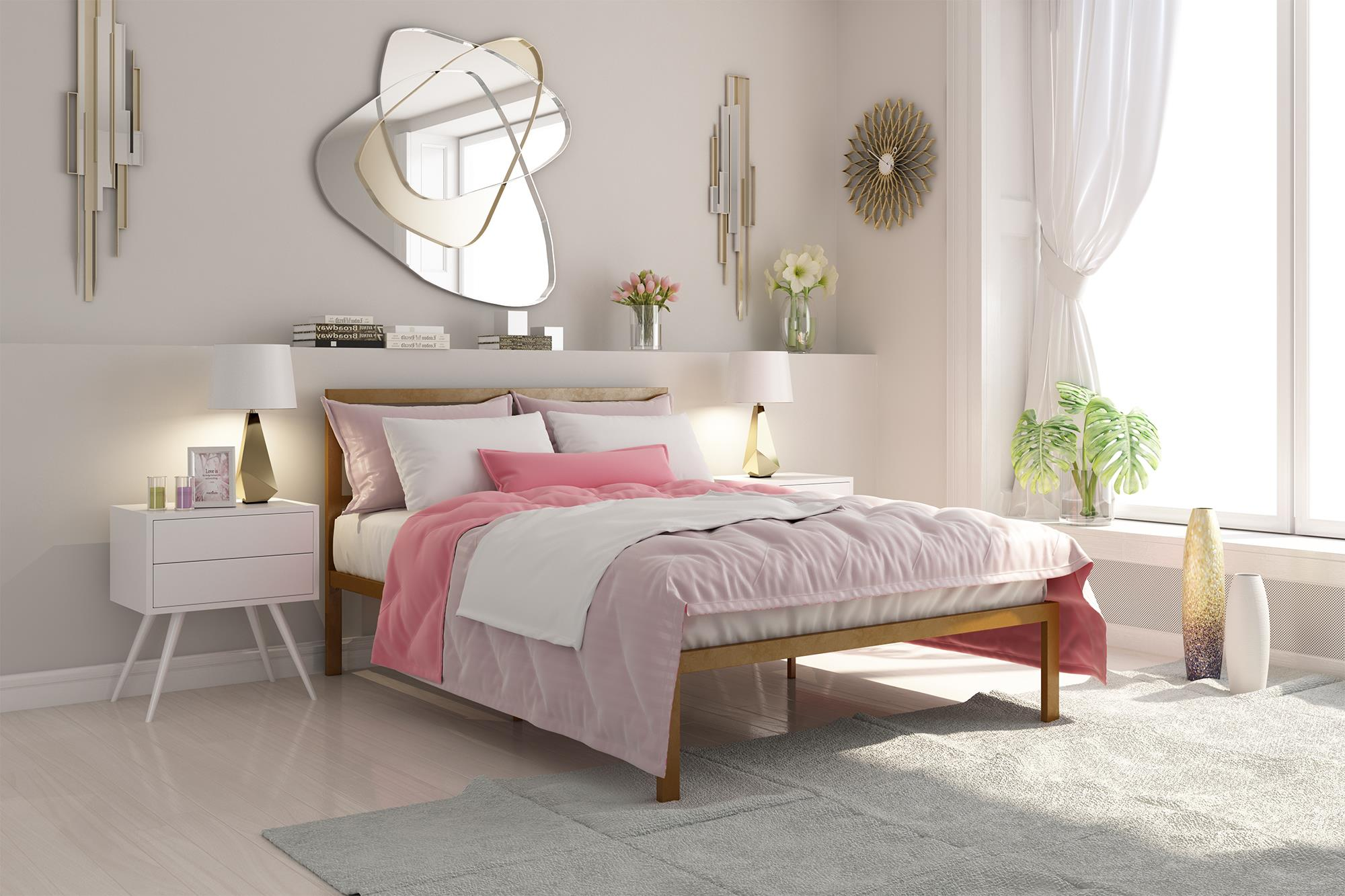 Signature Sleep Premium Modern Platform Bed with Headboard, Metal, Gold, Multiple Sizes by Dorel Home Products