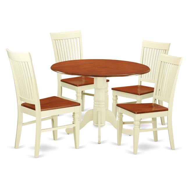 DLWE5-BMK-W 5 Pc Dining set with a Kitchen Table and 4 Wood Seat Dining Chairs in Buttermilk and Cherry-Finish:Buttermilk & Cherry,Shape:Round,Style:Wood Seat