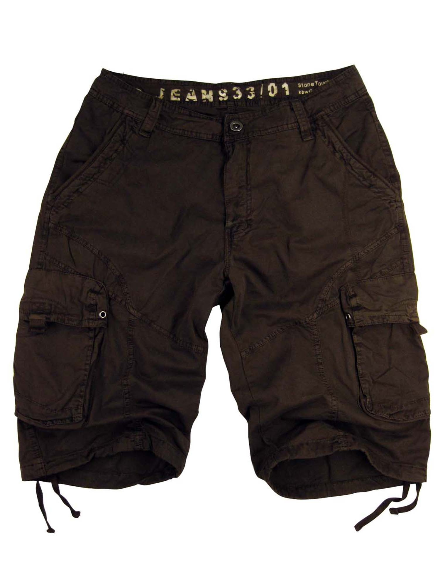 Mens Military-style Cargo Pocket Shorts Black Color #27S-BLK sizes:30
