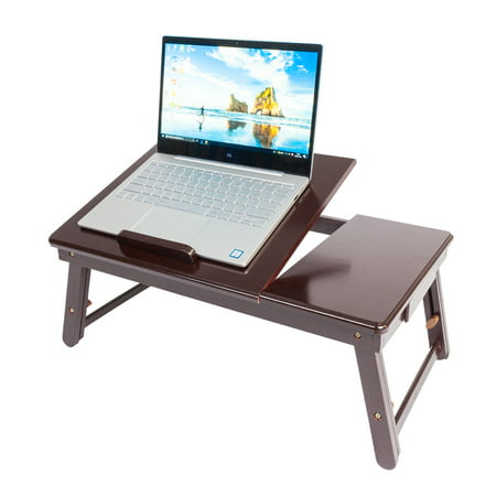 Bamboo Large Foldable Laptop Notebook Stand Desk with Height Adjustable Legs Drawer Cup Holder,Bed Table Serving Tray for Eating Breakfast, Reading Book, Watching Movie on iPad ()